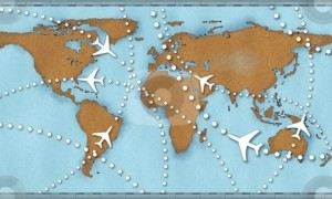 Airline planes travel flights air traffic world map